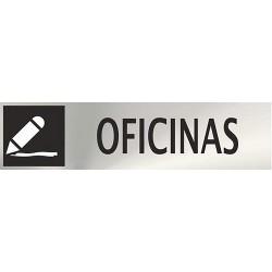 """Señal """"Oficinas"""" inox 200x50"""